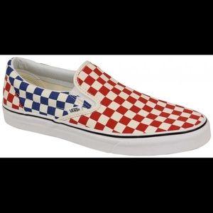 Vans Slip-On Blue & Red Checkerboard Skate Shoes